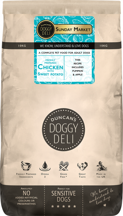 Duncan's doggy deli chicken with sweet potato
